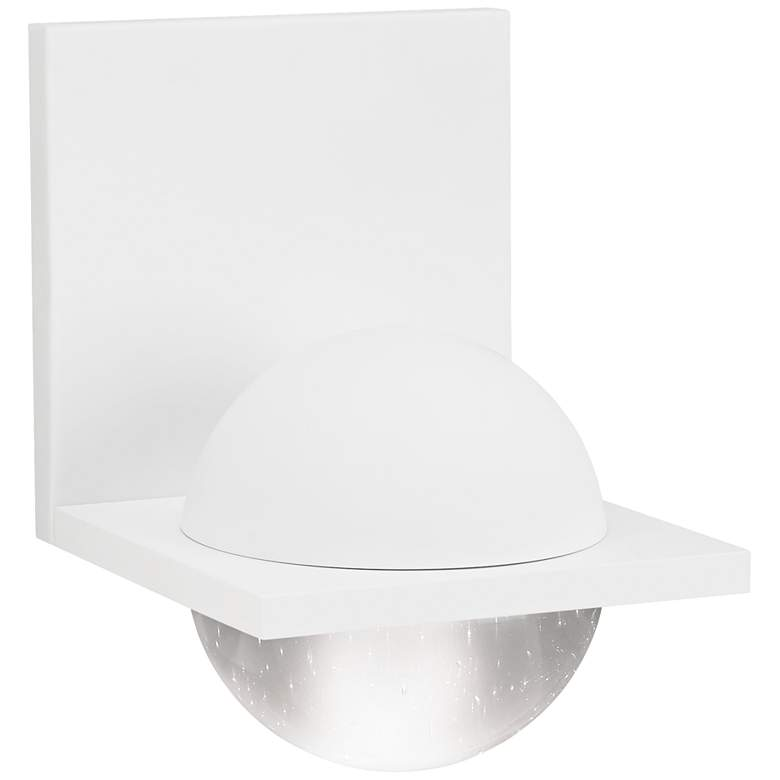 """LBL Sphere 6 3/4""""H Rubberized White Clear LED Wall Sconce"""