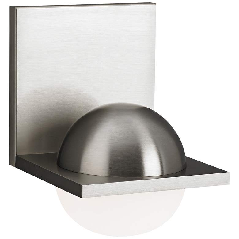 """Tech Sphere 6 3/4"""" High Satin Nickel Frost LED Wall Sconce"""