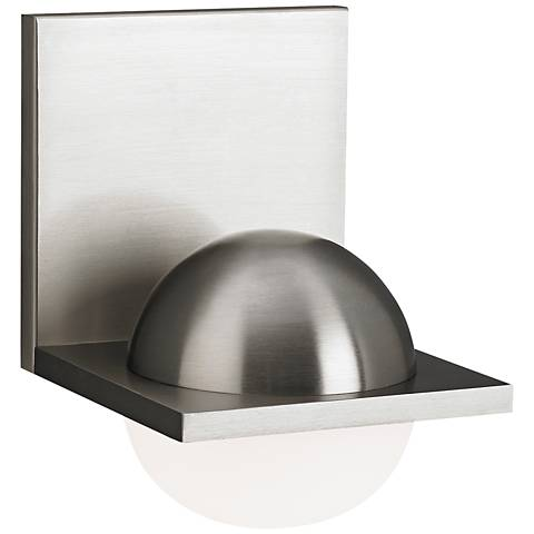 "LBL Sphere 6 3/4"" High Satin Nickel Frost LED Wall Sconce"