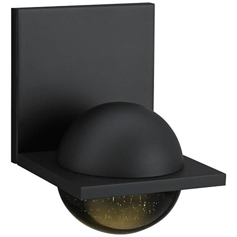"LBL Sphere 6 3/4""H Rubberized Black Smoke LED Wall Sconce"