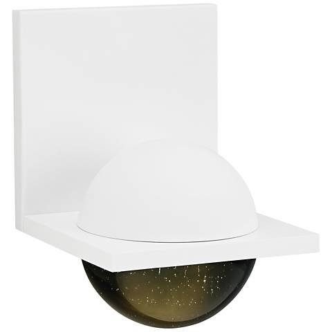 """LBL Sphere 6 3/4""""H Rubberized White Smoke LED Wall Sconce"""