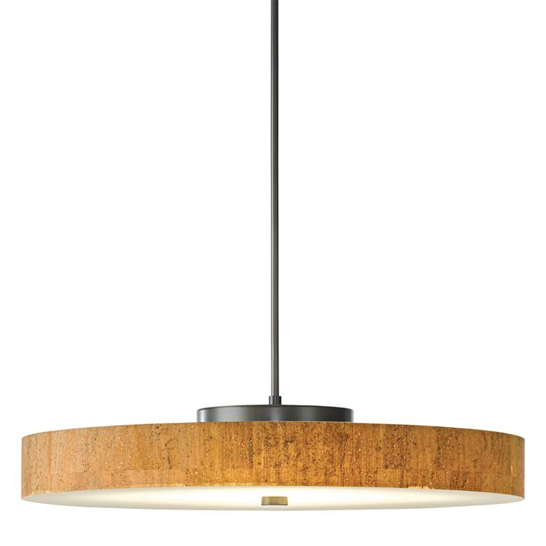 "Hubbardton Forge Disq LED 23""W Cork-Steel Pendant Light"