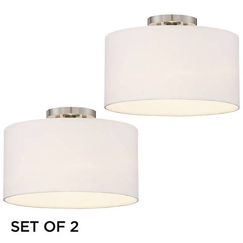 Adams White Drum Shade LED Ceiling Lights Set of 2