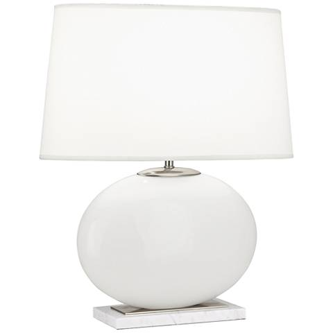 Robert Abbey Raquel White and Nickel Oval Table Lamp