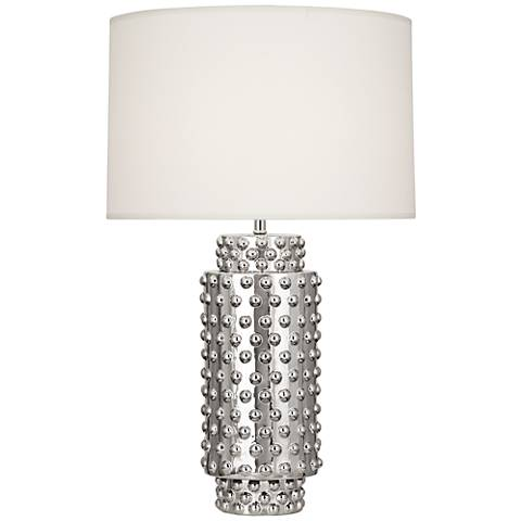 Robert Abbey Dolly White Shade Polished Nickel Table Lamp