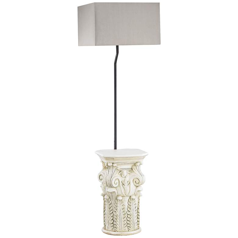 """Patras 62"""" High Antique White-Taupe Shade Outdoor Floor Lamp"""
