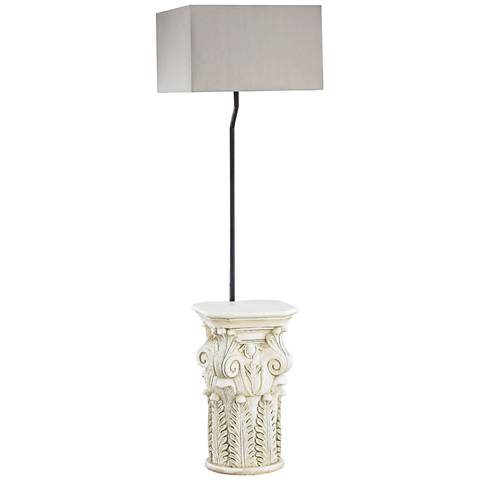 "Patras 62"" High Antique White-Taupe Shade Outdoor Floor Lamp"