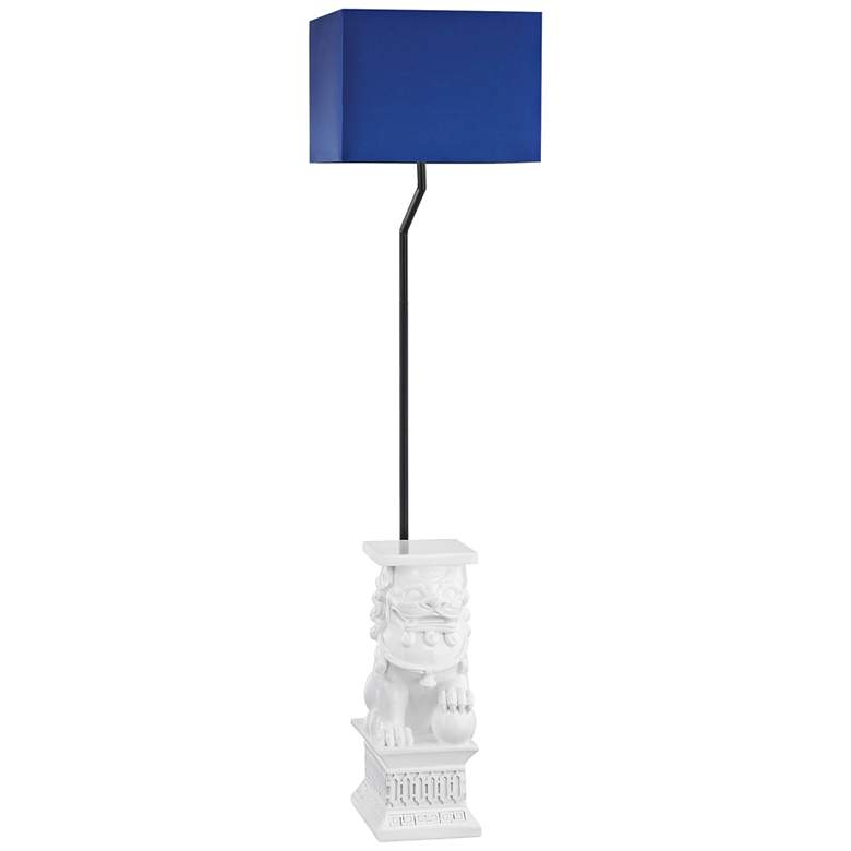 """Wei Shi 60"""" High White and Navy Blue Outdoor Floor Lamp"""