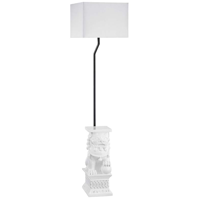 "Wei Shi 60"" High White Finish Outdoor Floor Lamp"