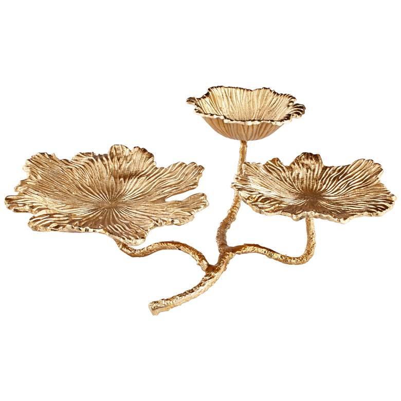 """Flowers and Flames 21 1/4"""" Wide Gold Votive Candle Holder"""