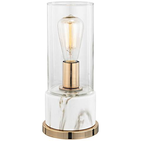 Richmond Hill Clear Glass and White Faux Marble Table Lamp
