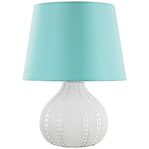 Aruba White with Sea Green Shade Outdoor Accent Table Lamp