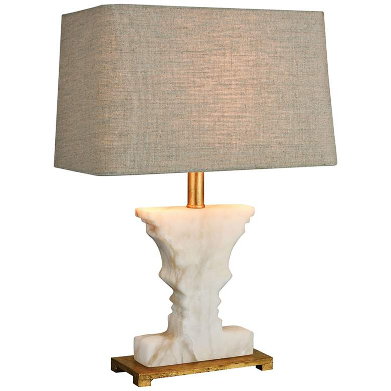 Cheviot Hills White Alabaster and Gold Leaf Table Lamp