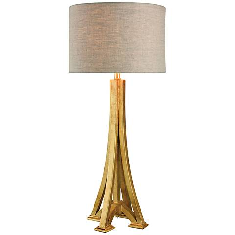 L'Expo Antique Gold Leaf Wood Table Lamp