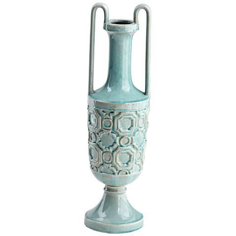 "Cyan Design August Sky Teal 23 1/2"" High Small Ceramic Vase"