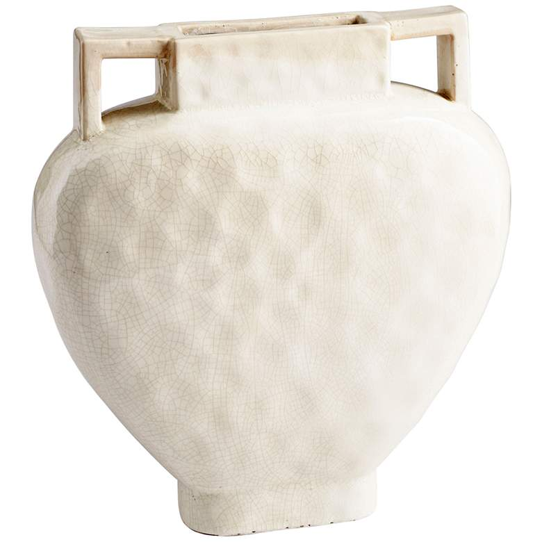 "Evelyn White Crackle 16 1/4"" High Small Ceramic Planter"