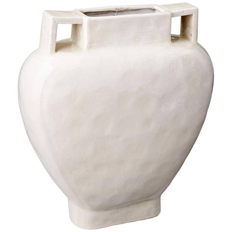 "Evelyn White Crackle 20 1/2"" High Large Ceramic Planter"