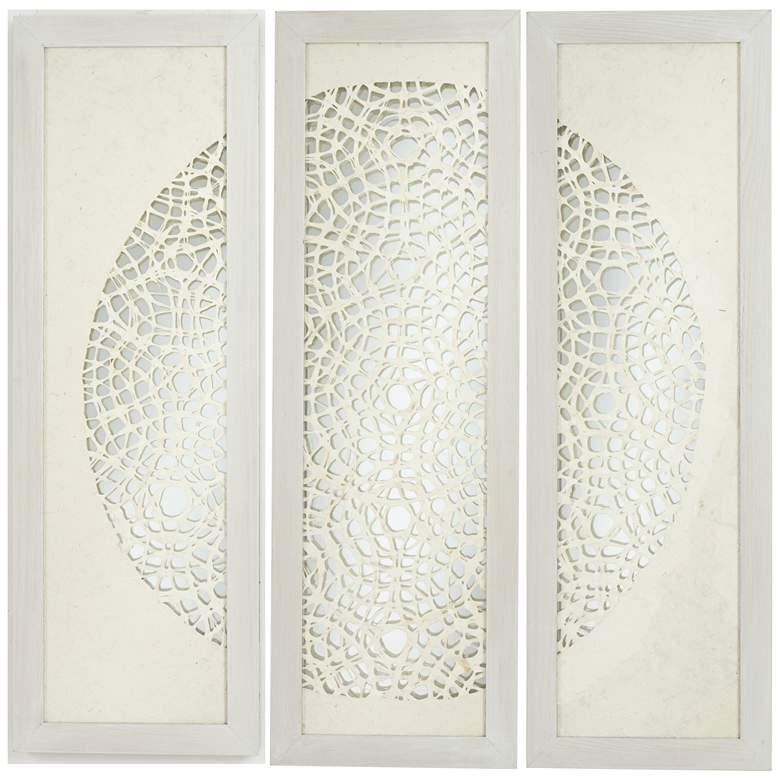 "Pini Woven Ivory 47"" High Mirrored Wall Art Set of 3"