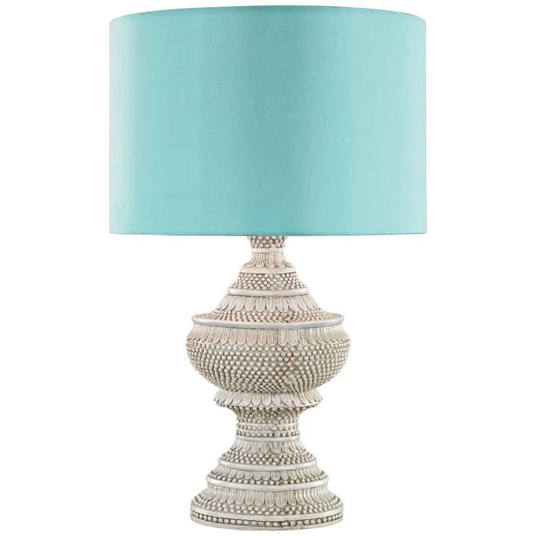 Kokopo Antique White with Sea Green Shade Outdoor Table Lamp