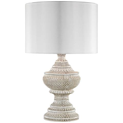 Kokopo Antique White with White Shade Outdoor Table Lamp