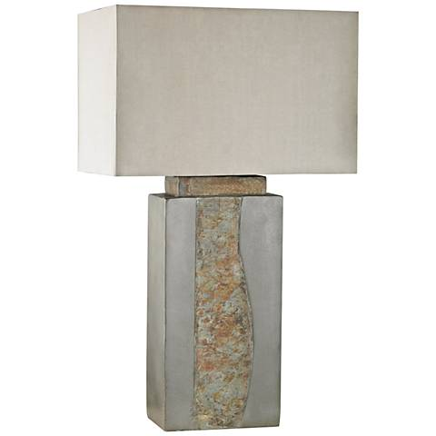 Musee Gray and Natural Slate Outdoor Table Lamp