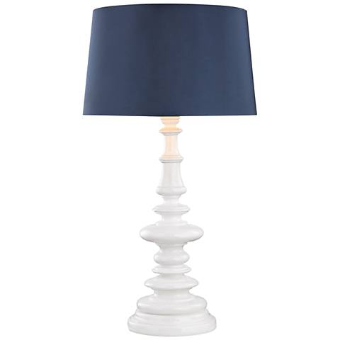 Corsage Gloss White with Navy Blue Shade Outdoor Table Lamp