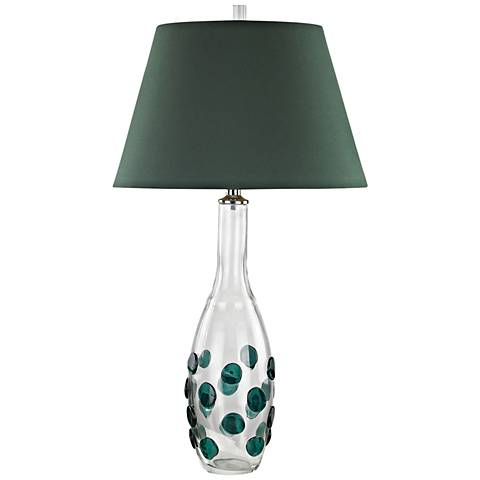 Confiserie Clear and Green Glass with Green Shade Table Lamp