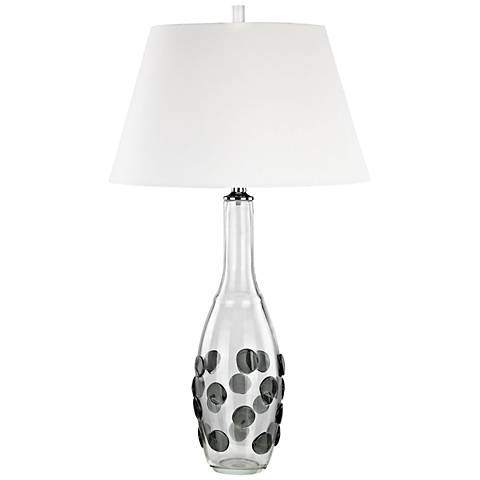 Confiserie Clear and Gray Glass with White Shade Table Lamp