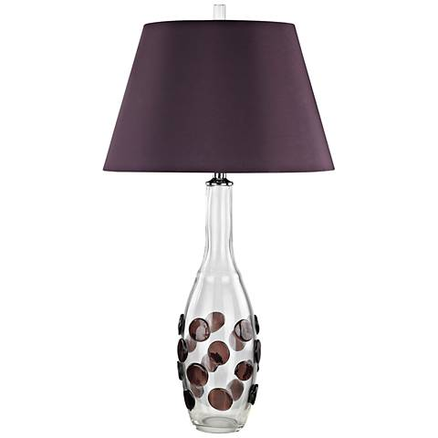 Confiserie Clear and Garnet with Burgundy Shade Table Lamp