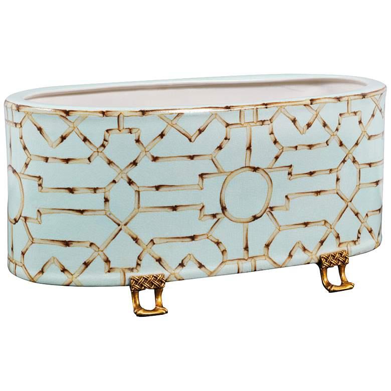 "Port 68 Baldwin 18"" Wide Blue and White Oval Planter"