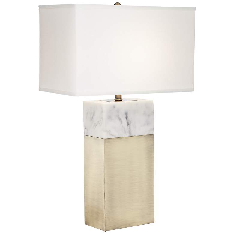 Imperial Antique Brass Faux Marble Table Lamp