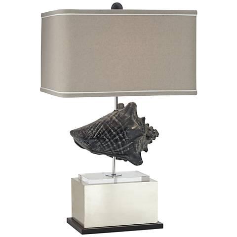 Punalu Gray and Silver Seashell Table Lamp