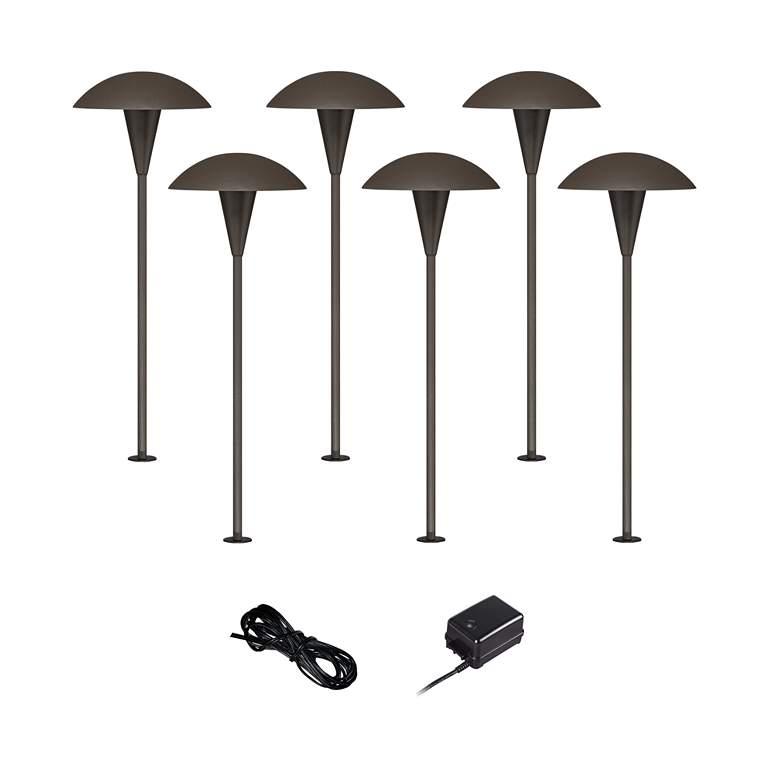 Mushroom Bronze 8-Piece Outdoor LED Landscape Lighting Set