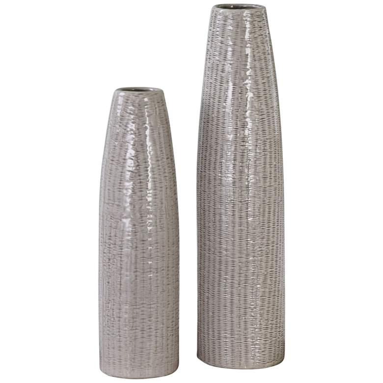 Uttermost Sara Pale Taupe 2-Piece Ceramic Vase Set