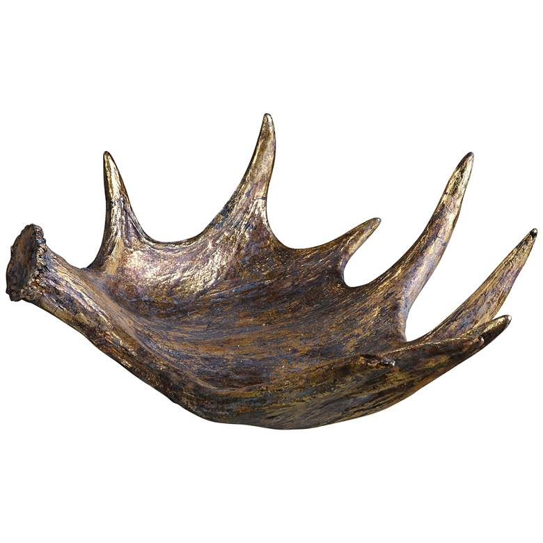 "Moose Antler 24"" Wide Gold Leaf Bowl by Uttermost"