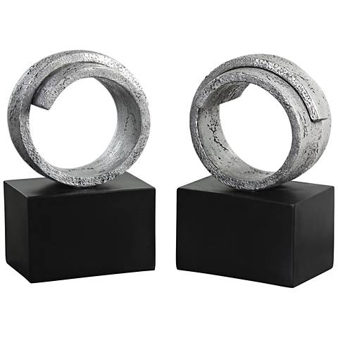 Uttermost Twist Metallic Silver and Black Bookends Set