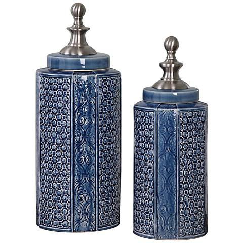 Uttermost Pero Sapphire Blue 2-Piece Ceramic Urn Set