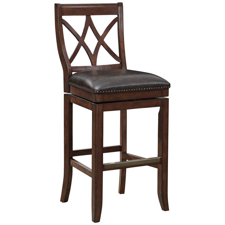 "Hadley 30"" Tobacco Bonded Leather Swivel Barstool"