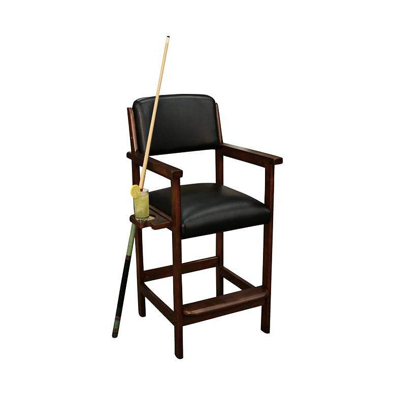 """Spectator 28"""" Suede Wood Bonded Black Leather Bar Chair"""