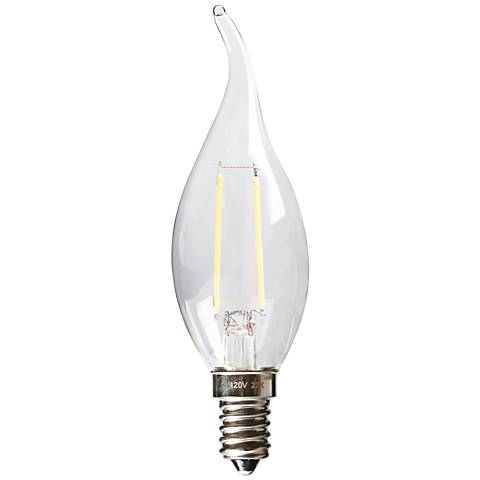 20W Equivalent Clear 2W LED Dimmable Flame Tip Candelabra