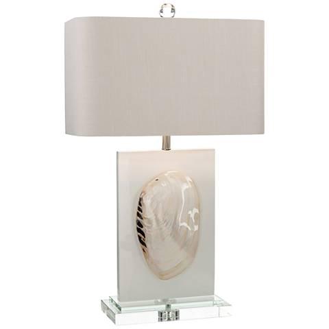 John Richard Sarasota White Glossy Seashell Table Lamp