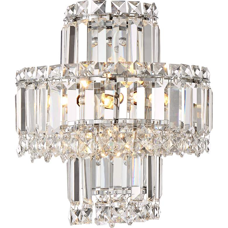 """Magnificence 12 1/2"""" High Chrome and Crystal Wall Sconce"""