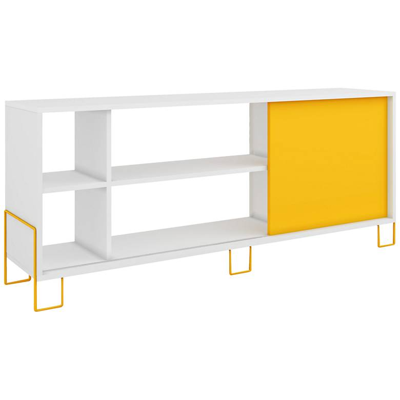 """Nacka 53 1/4"""" Wide White and Yellow Modern TV Stand"""