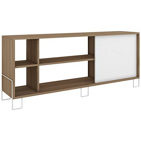 Eye-Catching Nacka 2.0 Oak and White 1-Door TV Stand