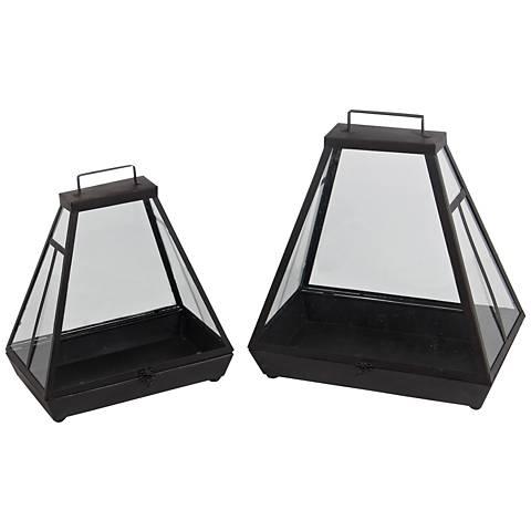 Hearth Black Votive Lantern 2-Piece Candle Holder Set