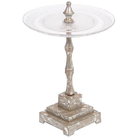 Jako Clear Glass Serving Tray on Aged Silver Stand