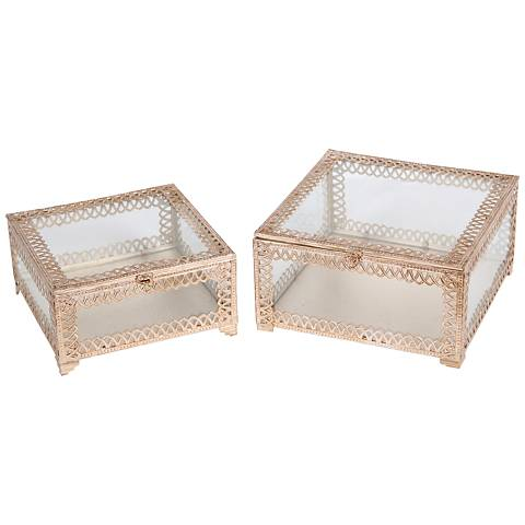Trezo Square Champagne 2-Piece Glass Keepsake Box Set