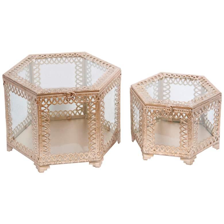 Trezo Hexagon Champagne 2-Piece Glass Keepsake Box Set