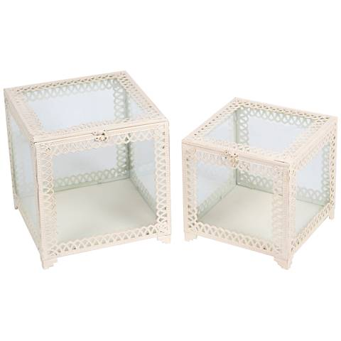 Trezo Square White 2-Piece Glass Keepsake Box Set