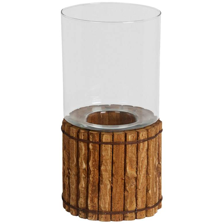 """Papasay 15 1/2"""" High Pine Wood Rustic Candle Holder"""